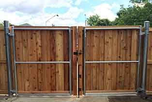Wood Fence - Steel Framed Gate Traditional Privacy